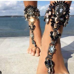 Jewelry - Black Crystal Foot Jewelry